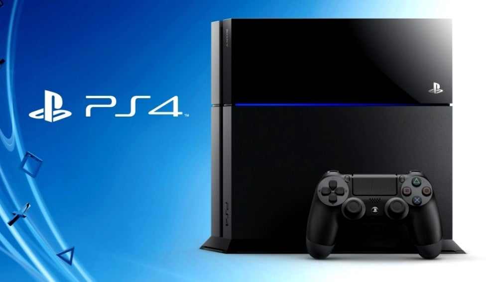 PlayStation 4 sobre fondo azul