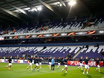 Los jugadores del Anderlecht, entrenando en su estadio