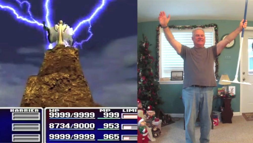 Abuelo imita las invocaciones de Final Fantasy 7