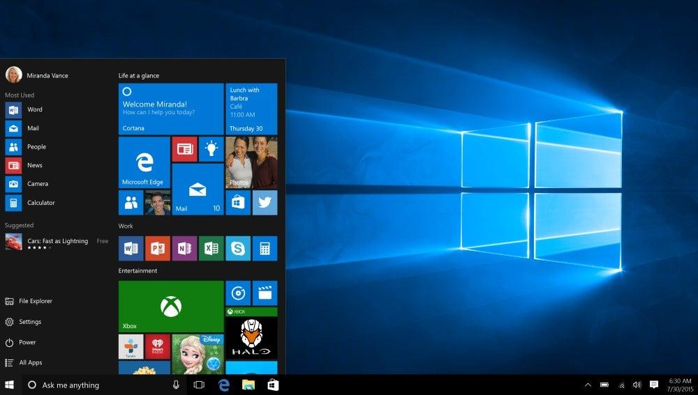 Menú de inicio de Windows 10