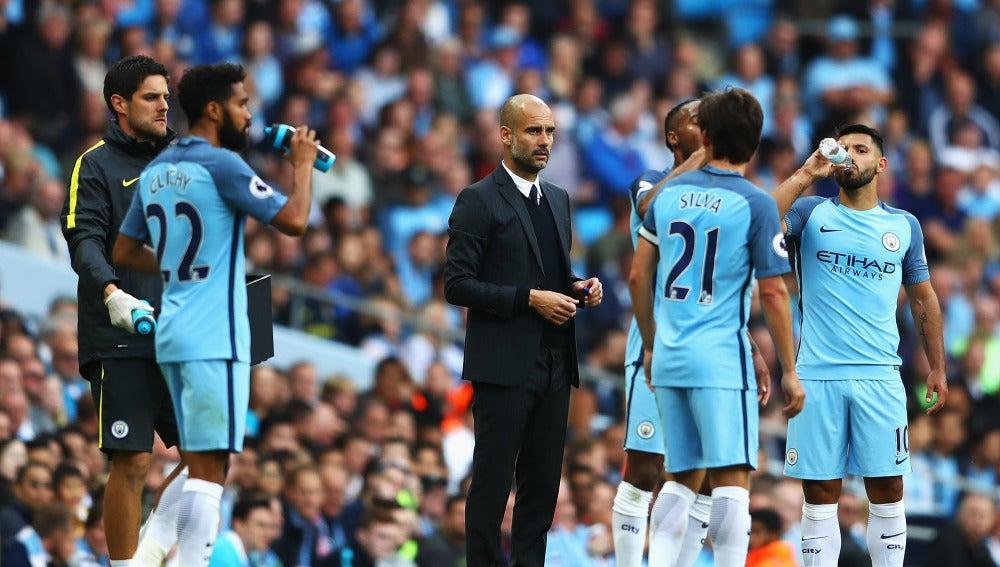Guardiola, en el banquillo del Manchester City