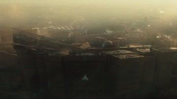 Escena de la película de Assassin's Creed, con el Vicente Calderón al fondo