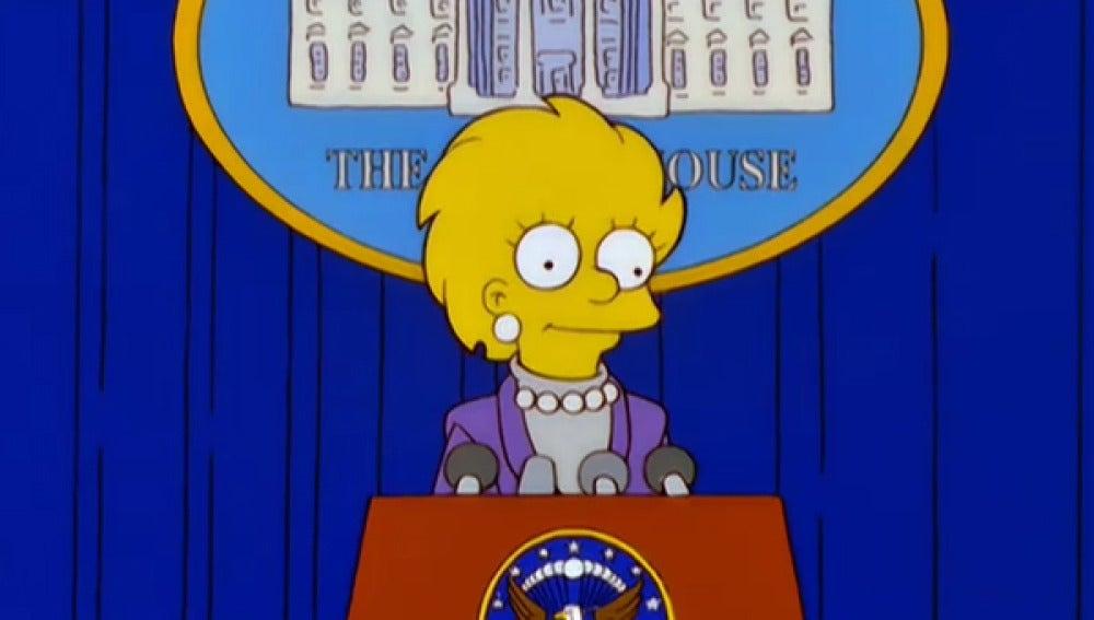 Lisa Simpson sustituye a Donald Trump al frente  de Estados Unidos