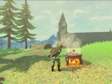 Link cocinando en The Legend of Zelda: Breath of the Wild
