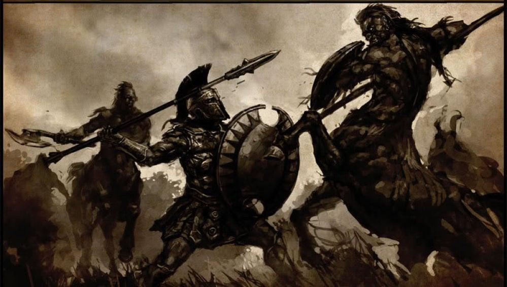 Soldado griego en plena batalla