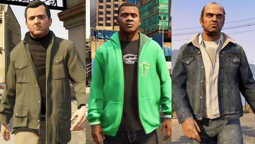 Franklin, Trevor y Michael de GTA V