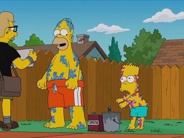 Homer y Bart hacen el baile de Floss