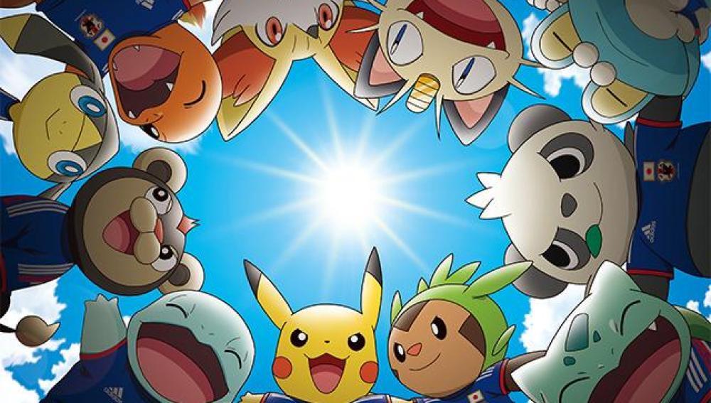 Imagen promocional de Pokémon con la selección japonesa