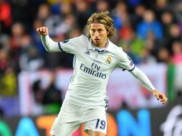 Modric, en un partido con el Real Madrid