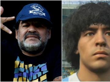 Maradona, junto a su caracterización en el PES 2017
