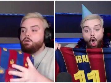 Ibai Llanos, con la caja del Barça
