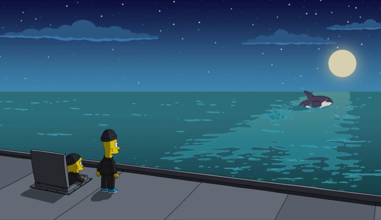 Lisa y Bart liberan a la ballena Willy
